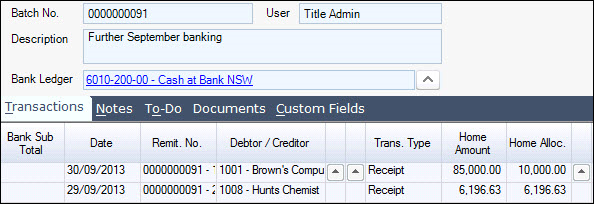 Cash Book Receipts Jiwa 7 Documentation – Receipt Ledger